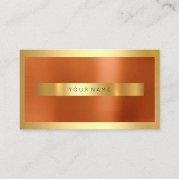coral orange gold frame metallic minimal business card