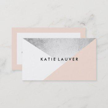 coral white modern faux silver foil color block business card