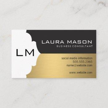 corporate gold black with monogram business card