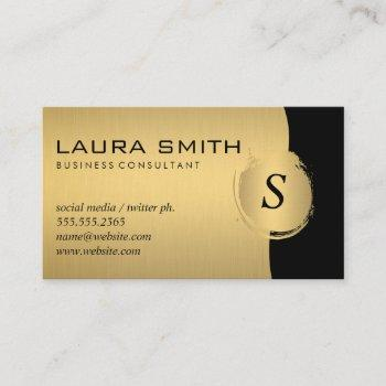 corporate / metallic silver / gold monogram business card