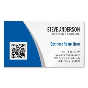 corporate qr code logo - modern stylish navy blue magnetic business card