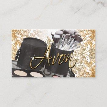 cosmetics and gold glitter - avon business card