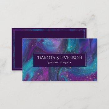cosmic ink | turquoise blue purple galaxy nebula business card