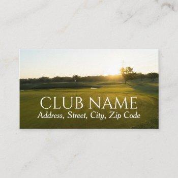 country club golf course field elegant stylish  business card