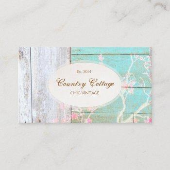 country cottage vintage rustic wood boutique business card