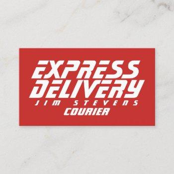 courier delivery services red white business card