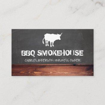 cow | chalkboard and wood background business card