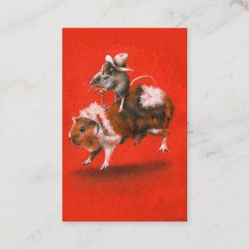 cowboy mouse and guinea pig aceo business  card