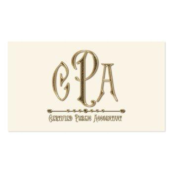 Small Cpa Certified Public Accountant Business Taxes Business Card Back View