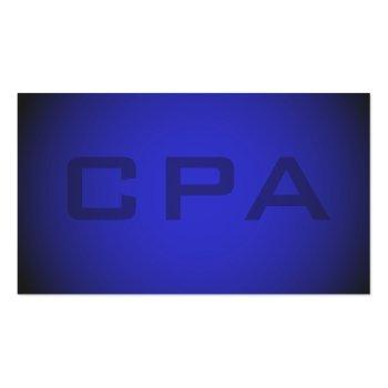 Small Cpa Certified Public Accountant Striking Blue Business Card Back View