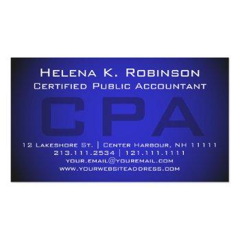 Small Cpa Certified Public Accountant Striking Blue Business Card Front View