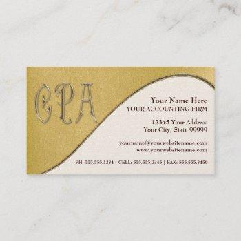 cpa gold professional certified public accountant business card