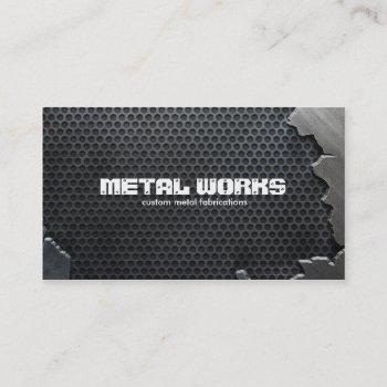 cracked metal and mesh business card
