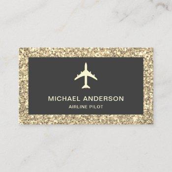 cream glitter jet aircraft airplane airline pilot business card