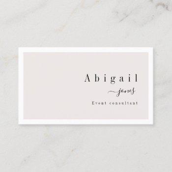 cream simple script modern luxury professional business card