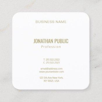 create your own modern elegant gold font text square business card