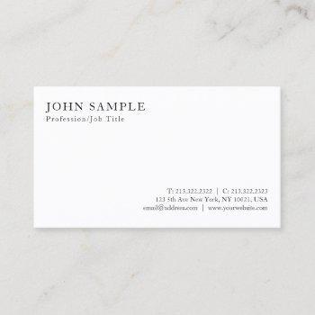 create your own modern elegant white minimalistic business card