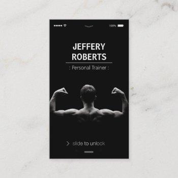 creative and unique bodybuilder personal trainer business card