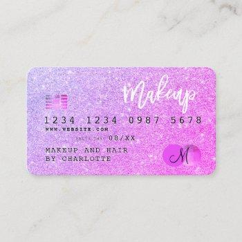 credit card chic pink glitter makeup hair monogram