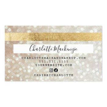 Small Credit Card Gold Bokeh Beauty Monogram Back View