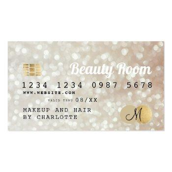 Small Credit Card Gold Bokeh Beauty Monogram Front View