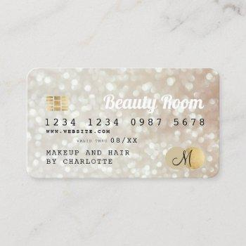 credit card gold bokeh beauty monogram