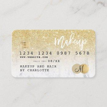 credit card gold glitter marble girly monogram