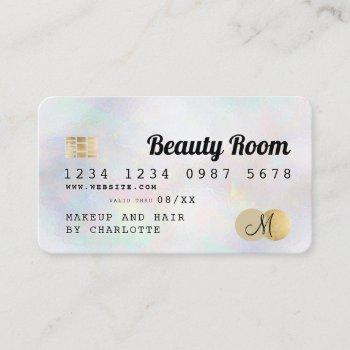 credit card gold pearl girly beauty monogram
