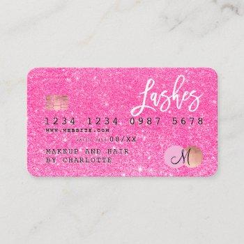credit card neon pink glitter lashes monogram