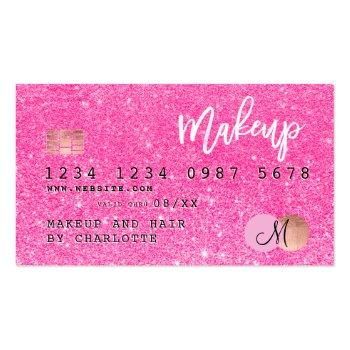 Small Credit Card Neon Pink Glitter Makeup Hair Monogram Front View
