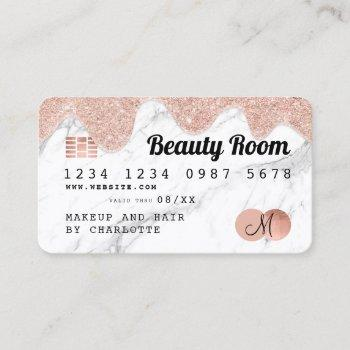 credit card rose gold glitter drips marble beauty