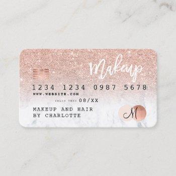 credit card rose gold glitter marble chic monogram