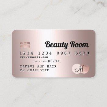 credit card rose gold metallic beauty monogram