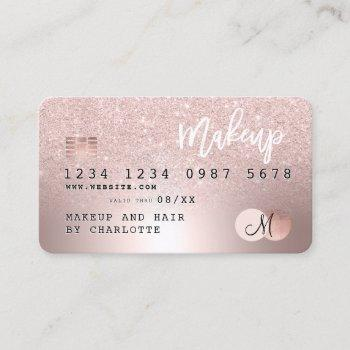 credit card rose gold metallic glitter hair name