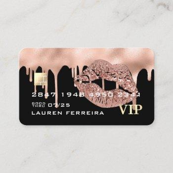 credit card style pink drips business card