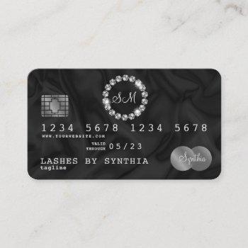 credit card style silver diamond monogram