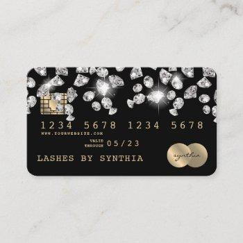 credit card styled dripping  diamonds