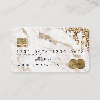 credit card styled dripping gold marble