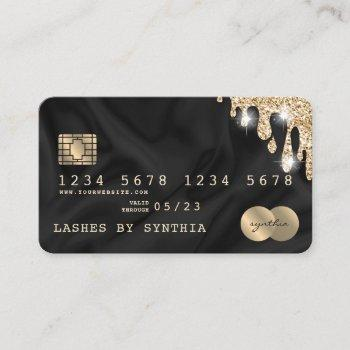 credit card styled dripping gold silk