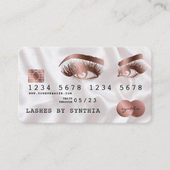 credit card styled rose gold long lashes
