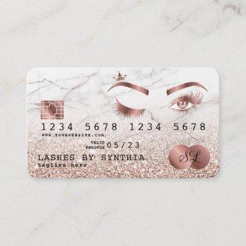 credit card styled rose gold long lashes marble
