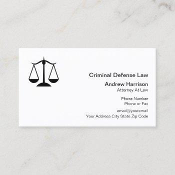 criminal defense lawyer business card