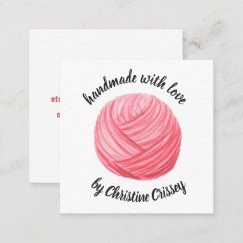 crochet / knit pink watercolor yarn handmade craft square business card