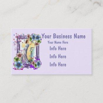 cross with lady and flowers business card