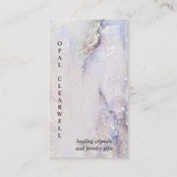 crystal mineral quartz sparkle watercolor vertical business card
