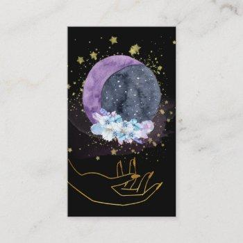 *~* crystals moon sky cosmos stars hand business card