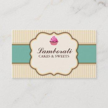 cupcake bakery beige elegant retro modern stripes business card