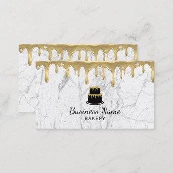 cupcake bakery gold drip icing modern white marble business card