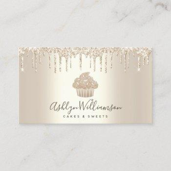 cupcake bakery pastry chef glitter drips champagne business card