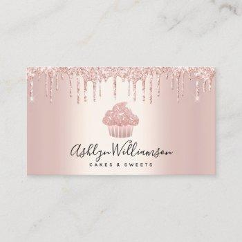 cupcake bakery pastry chef glitter drips rose gold business card